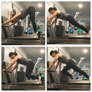 spine stretch series on reformer in strength pilates class